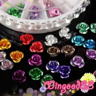 Nail Art 12 Colors 3D Metal Flower Rose Decoration Acrylic UV Tips