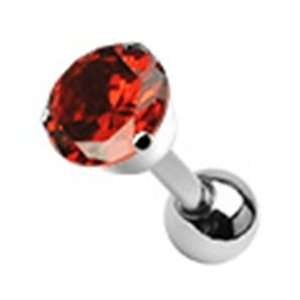 16g Cartilage Earring Piercing Stud with 5mm Red Round Cz Prong Top 16