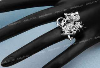 Cat Animal Crystal Rhinestone Adjustable Ring 1.3x0.94 CHIC