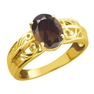 1.20 Ct Oval Brown Smoky Quartz Gold Plated Sterling