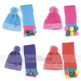 Baby Children Kids Boy Girl Warm Woolen Hat Beanie Cap + Long Scarf
