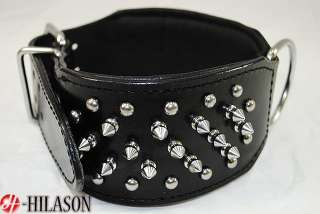 DC102 Black Leather Spiked Studded Dog collar Sz  SML