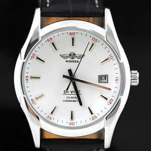 WINNER Elegant Mens White Date Automatic Watch Leather