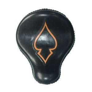 Rosa Harley Chopper Bobber Black Leather Tan Ace Inlay Solo Seat Kit