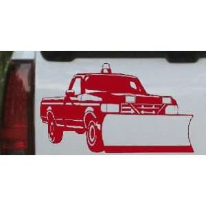 Snow Plow Truck Business Car Window Wall Laptop Decal Sticker    Red