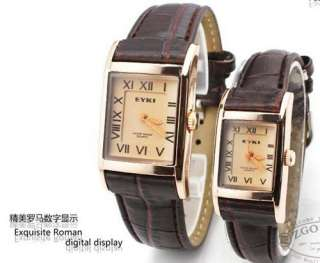 Brown Luxury Golden Roman Men Lady Leather Quartz Watch