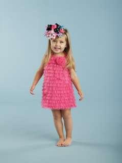Mud Pie Hot Pink Chiffon Ruffle Dress 12 18 month, 2T 3T, Wild Child
