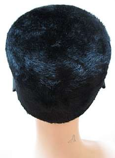 VINTAGE LADIES HAT, BLACK PLUSH, Monterey, ITALY #523