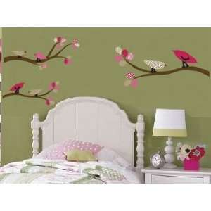 Kids tree branch set of 3 vinyl wall decal with 6 penelope