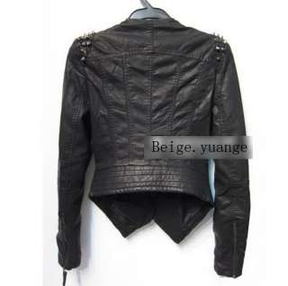 Punk Strong Spike Studded Shoulder Synthetic Leather Black Cropped