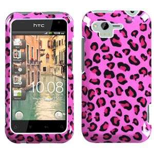 PINK LEOPARD HARD CASE FOR HTC RHYME ADR6330 PROTECTOR SNAP ON COVER