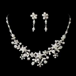 MATCHING CRYSTAL & PEARL SILVER WEDDING BRIDAL TIARA & JEWELRY SET