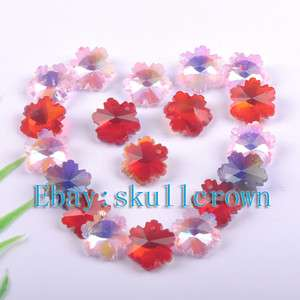 FREE SHIP 60pcs Flower Crystal Glass Charms LC6938
