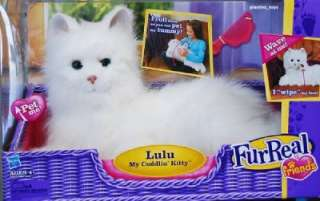 Life Size FurReal Friends LuLu My Cuddlin Kitten Kitty Cat White Meows