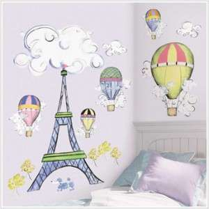 New GIANT EIFFEL TOWER WALL DECAL MURAL Hot Air Balloons Clouds