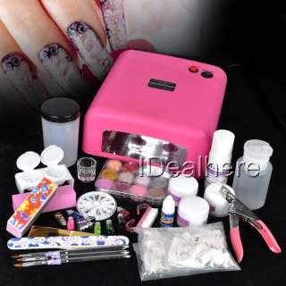 Full Pro Acrylic Powder Liquid NAILS ART KIT with 110V Pink Nail UV
