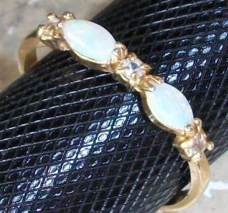 White Opal CZ Cubic Ring 18kp yellow gold plated 4 10