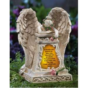 Solar Lighted Weeping Angel Memorial Garden Stone By