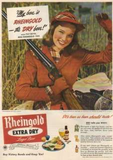 1945 Miss Rheingold Beer Girl Pat Boyd Duck Hunting photo ad