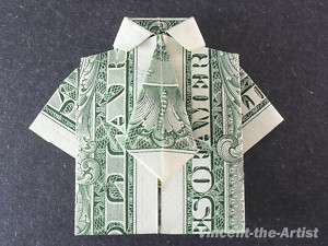 Dollar Money Origami SHIRT with a TIE. Great Gift Idea