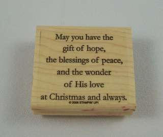 Up Wishing You choice of stamp Wood Mounted Christmas Peace Love Hope