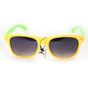 Wayfarer Fashion Sunglasses 200 Yellow Front Green Sides Plastic Frame