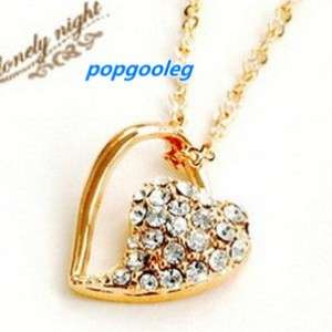18K rose Gold GP heart Swarovski Crystal Necklace AA11