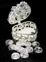 Heart Crystal Silver Wedding Coin Trinket Box Set ARRAS