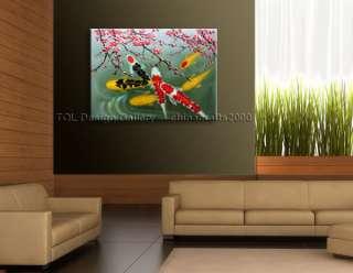 Modern Abstract Art Plum Blossom Koi Fish Oil Paintings