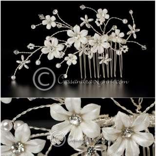 Porcelain Lustre Flower & Pearl Bridal Hair Comb
