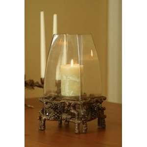 Rustic Lodge Pine Cone Hurricane Candle Holder Home & Kitchen