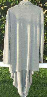 CABLE & GAUGE HEATHER GRAY 4 WAY POLYESTER RAYON DRAPE CARDIGAN WRAP