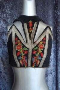 vintage ANTIQUE VICTORIan ETHNIC costume EmbrOIDERED florals bodice