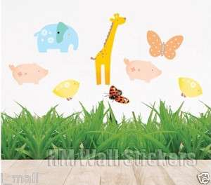 BUTTERFLIES & CUTE ANIMALS Kids Wall sticker for Kids/Nursery, 11 wall