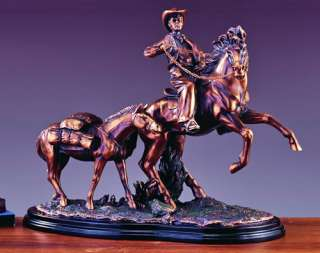 TWO HORSES & COWBOY BRONZE PLATED STATUE/SCULPTURE