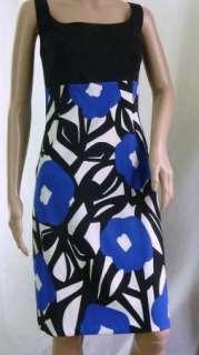 NWT AGB Dress Black Blue Print Stretch Sleeveless Empire Waist ST