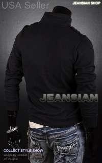 VVW Mens Designer Zip Slim Fit Jacket Top Coats Shirt Military L863