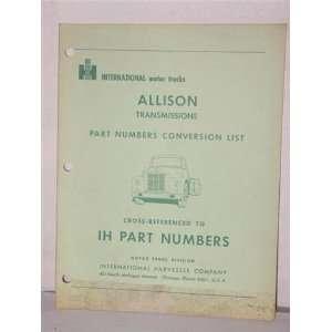 Allison transmissions, parts numbers conversion list, cross referanced