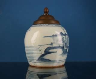 ANTIQUE CHINESE PORCELAIN BLUE & WHITE TOBACCO JAR 19th