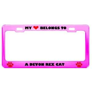 Devon Rex Cat Pet Pink Metal License Plate Frame Tag Holder