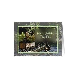 Happy Birthday dad, antique hay rake with planter box Card