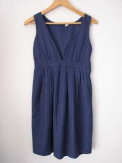 Retro Navy Blue Polka Dot Pattern Baby Doll Style Dress XS
