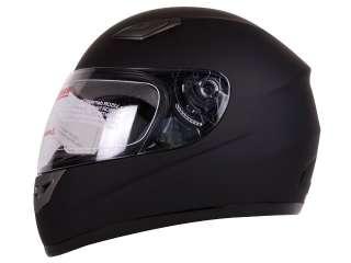 MATTE FLAT BLACK FULLFACE MOTORCYCLE HELMET DOT   L