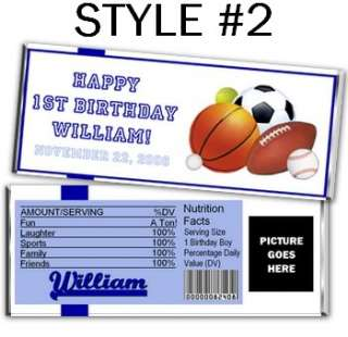 All Star Sports Boy Candy Bar Wrappers Party Favors