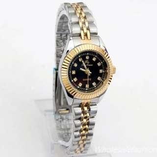 Lux Women Black Quartz Watch Two Tone Crystal Dial 248N