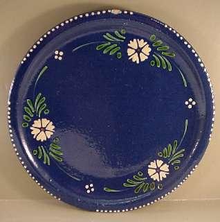 Soufflenheim Alsace France Dark Blue Yellowware 10 Dinner Plate