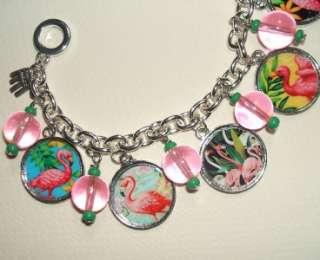 PINK FLAMINGO Charm BRACELET Tropical Altered Art