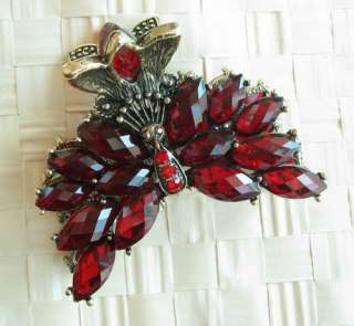 VARY COLORS SWAROVSKI CRYSTAL BIG BRONZE PEACOCK HAIR CLAW CLIP 805