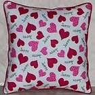 VALENTINE DAY PINK HEARTS ON COTTON THROW PILLOW HEARTS V2 6 NEW
