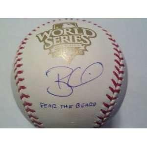 Brian Wilson Auographed 2010 World Series Baseball Fear Beard 2010